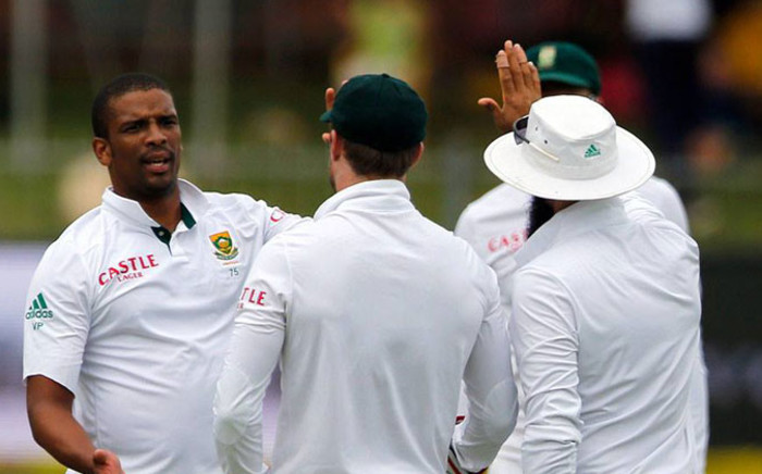 Protea players huddle together to celebrate a wicket in their Test Series against the West Indies. Picture: Cricket South Africa Official Facebook page.