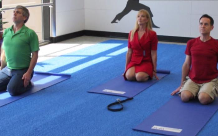 London Airport offers yoga classes. Picture: CNN/ screengrab