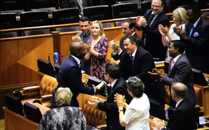 DA MPs applaud the party's Parliamentary leader Mmusi Maimane following his speech during the joint sitting on 17 February 2015. Picture: Thomas Holder/EWN.