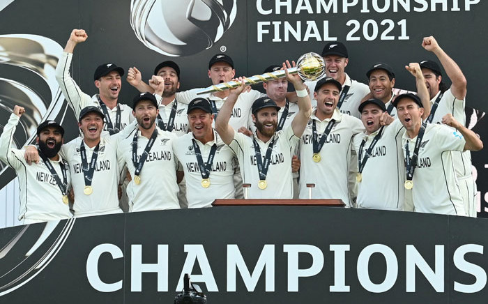 The New Zealand cricket were crowned world Test champions after they beat India in the World Test Championship in Southampton, England on 23 June 2021. Picture: @ICC/Twitter