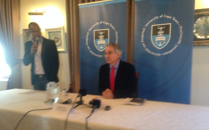 University of Cape Town vice-chancellor Max Price briefs media about the implications of continued disruptions on campus. Picture: Shamiela Fisher/EWN.