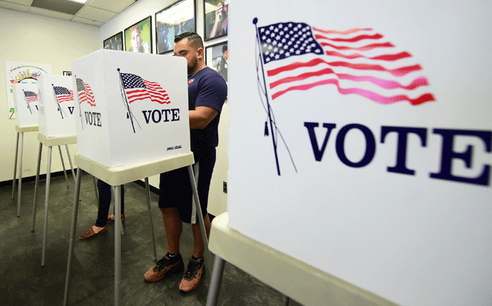 Voters cast their ballots for Early Voting at the Los Angeles County Registrar's Office in Norwalk, California on 5 November 2018, a day ahead the November 6 midterm elections in the United States. Picture: AFP