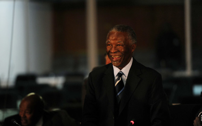 Former president Thabo Mbeki during a break in proceedings at the Seriti Commission of Inquiry where he is testifying in Pretoria. Picture: Sapa
