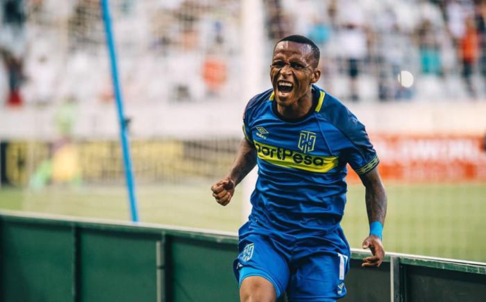 Surprise Ralani celebrates netting a goal against Bloemfontein Celtic. Picture: @CapeTownCityFC/Facebook.com.
