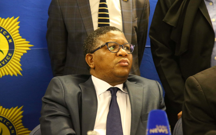 Police Minister Fikile Mbalula in a presser at Nyanga Junction in Cape Town. Picture: Bertram Malgas/EWN.