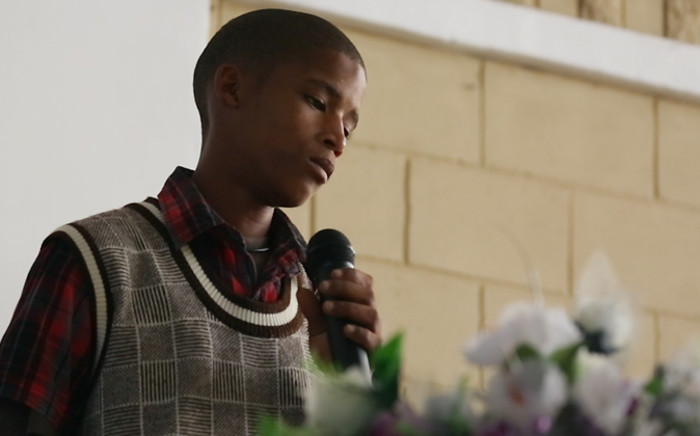 An Uistig youngster described Justin Langley 'as a dear friend' at a joint memorial service held for the teen and his uncle Barend on 16 November 2014. Picture: Aletta Gardner/EWN