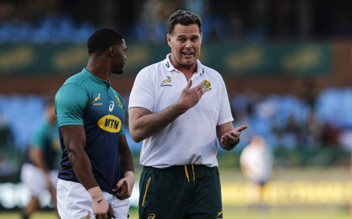South Africa fullback Warrick Gelant listens to South Africa coach Rassie Erasmus during the warm-up ahead of the Rugby Union World Cup warm-up match South Africa against Argentina at the Loftus Versfeld Stadium in Pretoria, on 17 August 2019. Picture: AFP
