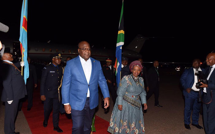 DRC President aFélix Tshisekedi arrives at Airforce Base Waterkloof ahead of the Presidential Inauguration. Picture: Twitter @GovernmentZA .