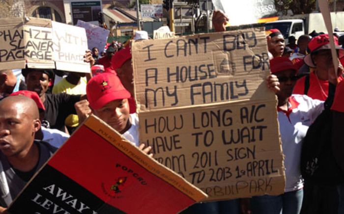 FILE. Workers march through the Joburg city centre against poor wages. Picture: EWN