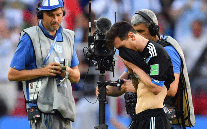 Argentina's forward Lionel Messi reacts at the end of the Russia 2018 World Cup Group D football match between Argentina and Iceland at the Spartak Stadium in Moscow on June 16, 2018. Picture: AFP