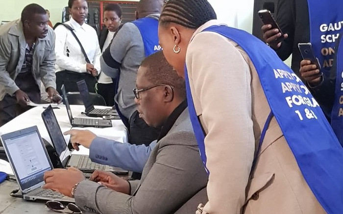 The launch of the online application system for grade one and eight pupils for the 2020 academic year. Picture: Thando Khubeka/EWN