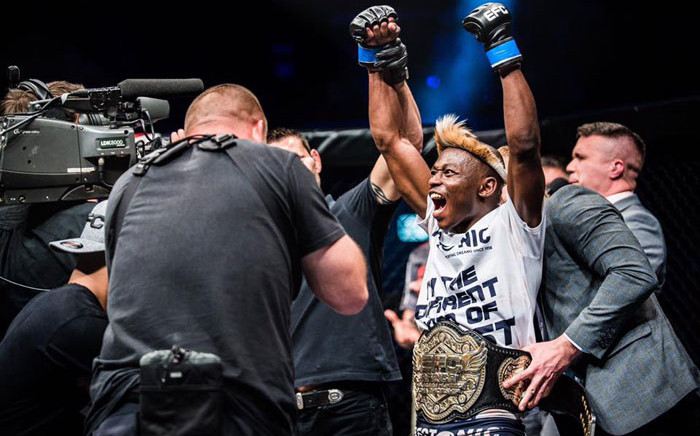 EFC Flyweight champion Nkazimulo Zulu celebrates another title defence. Picture: Facebook