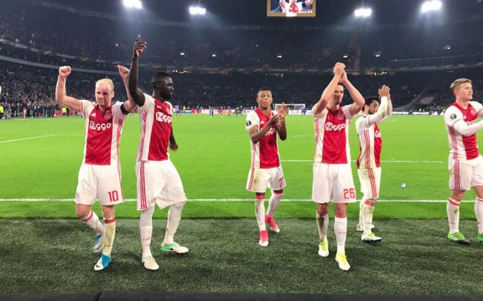 Ajax Amsterdam players celebrate their 2-0 win over Schalke 04. Picture: Twitter/ @AFCAjax.