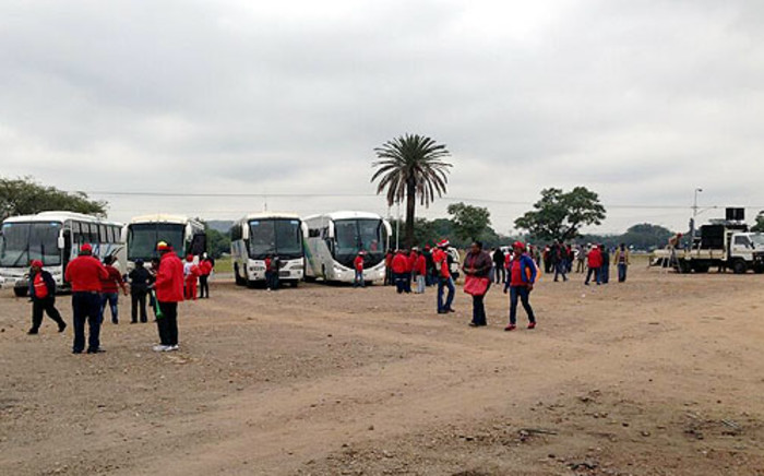 Teachers in red Sadtu shirts gather at the old Marabastad bus depot ahead of a planned march on 24 April 2013. Picture: Barry Bateman/EWN