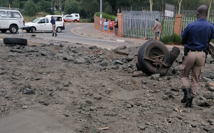 The truck which was transporting chrome without a permit from Rustenburg to City Deep, collided with a bakkie and several other vehicles, which were stationary at a traffic light. Picture: Twitter @jmpd