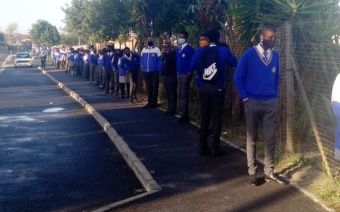 A group of grade 11 learners at a school in Cape Town go through orientation on their return to school. Picture: @WCEDnews/Twitter