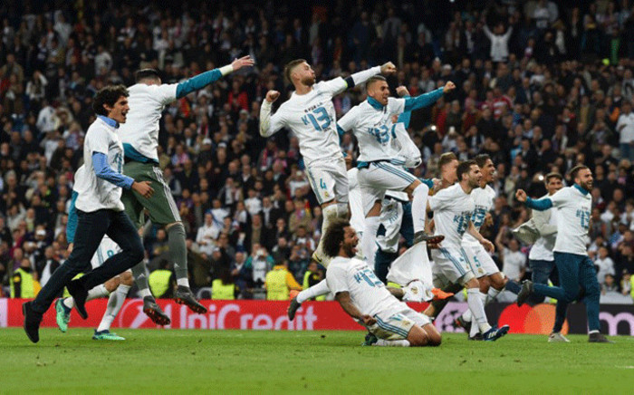 Real Madrid's players celebrate after the UEFA Champions League semi-final second-leg football match Real Madrid CF vs FC Bayern Munich in Madrid, Spain, on 1 May, 2018. Picture: AFP.
