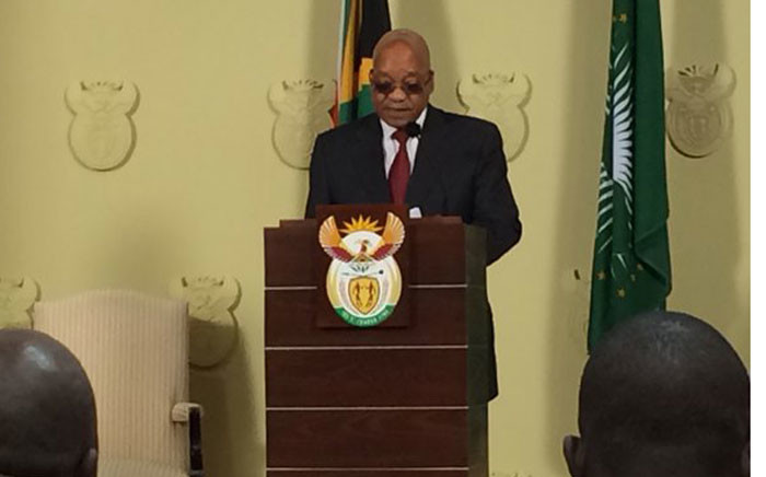 President addressing the nation after meeting with vice chancellors, chairs of councils and student representatives at the Union Buildings. Picture:EWN.