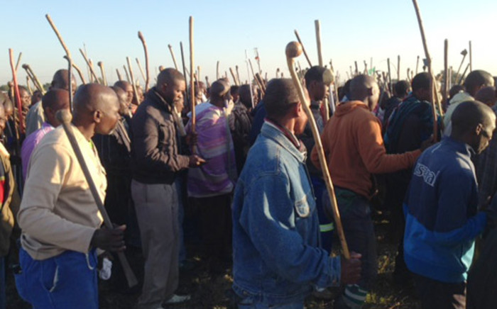 Striking Amcu members on the platinum belt. Picture: Vumani Mkhize/EWN.