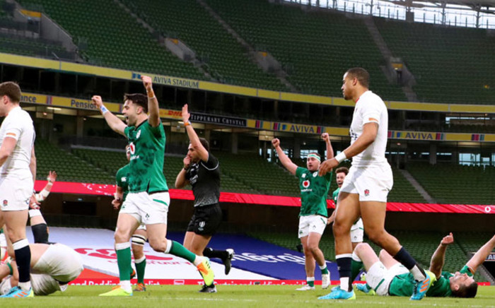 Irish players celebrate a try in their Six Nations match against England on 21 March 2021. Picture: @IrishRugby/Twitter