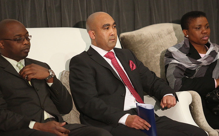 Justice Minister Michael Masutha (left), National Director of Public Prosecutions Shaun Abrahams (centre) and Deputy National Director of Public Prosecutions Nomgcobo Jiba (right) at the NPA's head office in Pretoria on 7 July 2015. Picture: Reinart Toerien/EWN