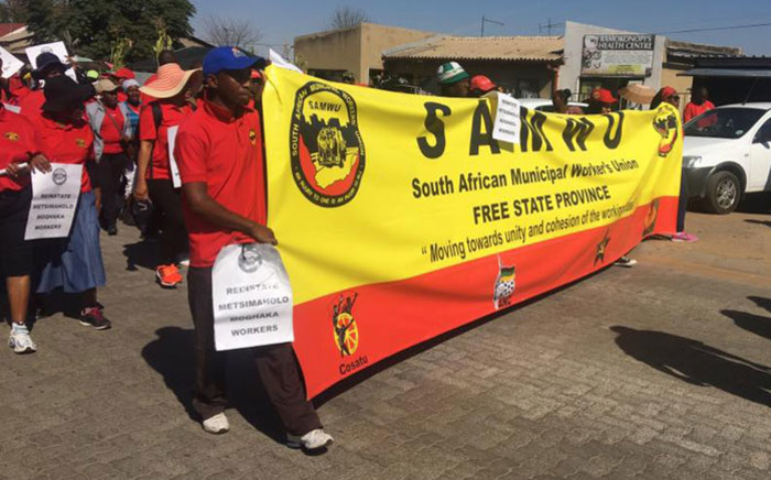 FILE: FILE: Samwu members during a protest march. Picture: Samwu Facebook page.