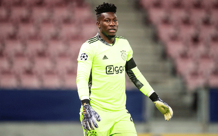In this file photograph taken on November 3, 2020, Ajax's Cameroon goalkeeper Andre Onana looks on during the UEFA Champions League football match FC Midtjylland vs Ajax Amsterdam at MCH Arena in Herning. Picture: Bo Amstrup / Ritzau Scanpix / AFP.