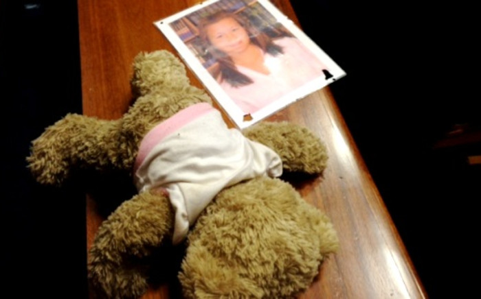 A picture of Kirsty Theologo next to a teddy bear in the Palm Ridge Magistrate's Court on 7 November 2013. Picture: Vumani Mkhize.
