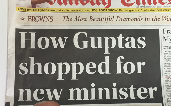 The 'Sunday Times' headline on 13 March 2016. Picture: EWN.