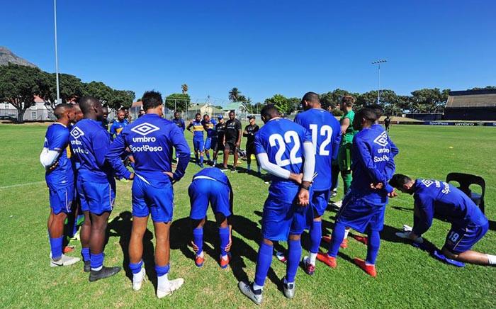 Cape Town City coach Benni McCarthy, centre, addresses players during a training session. Picture: @ CapeTownCityFC/Facebook.com.