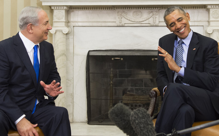 US President Barack Obama and Israeli Prime Minister Benjamin Netanyahu hold a meeting in the Oval Office of the White House in Washington, DC, 9 November, 2015. Picture: AFP.
