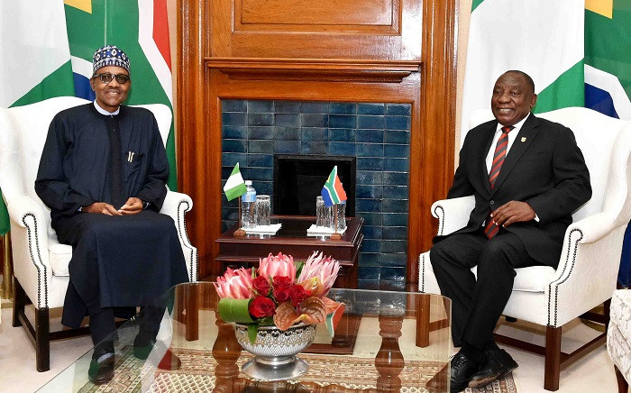 Nigerian President Muhammadu Buhari (left) and President Cyril Ramaphosa at the Union Buildings in Tshwane on Thursday, 3 October 2019. Picture: @PresidencyZA/Twitter