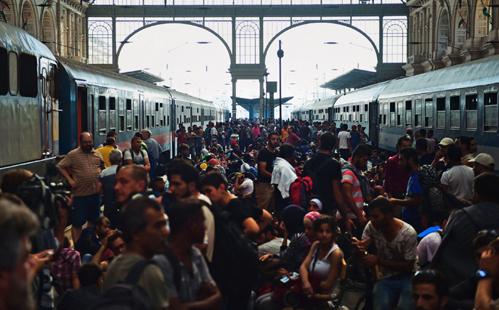 Migrants and refugees crowd the platforms at the Keleti (eastern) railway station in Budapest on 1 September, 2015. Picture: AFP.