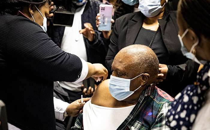 Dr Irvin Khoza (73) is vaccinated in Krugersdorp on 17 May 2021. Picture: Xanderleigh Dookey Makhaza/Eyewitness News