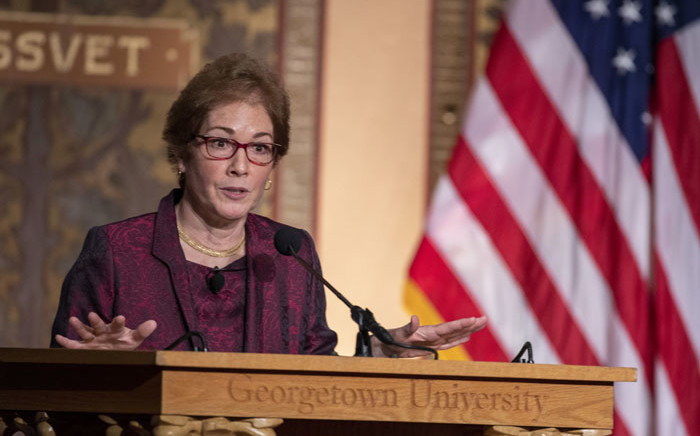 """Former US Ambassador Marie Yovanovitch speaks during a ceremony awarding her the Trainor Award for """"Excellence in the Conduct of Diplomacy"""" at Georgetown University on 12 February 2020 in Washington, DC. Picture: AFP"""