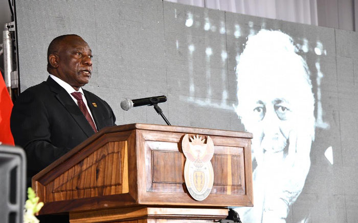 President Cyirl Ramaphosa delivers the eulogy at the funeral of human rights lawyer Advocate George Bizos on 17 September 2020. Picture: @PresidencyZA/Twitter