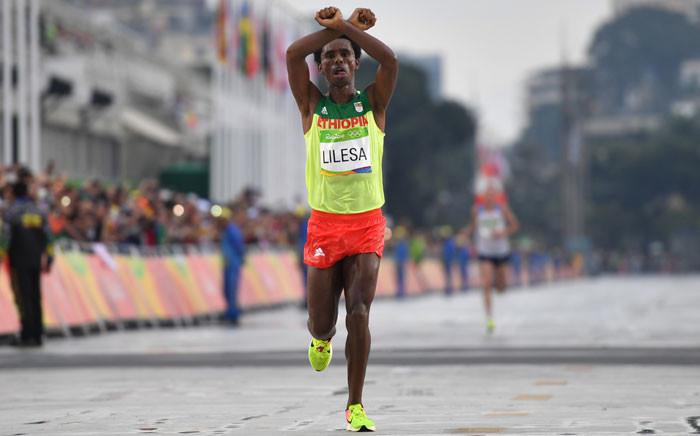 Ethiopia's Feyisa Lilesa. Picture: AFP.