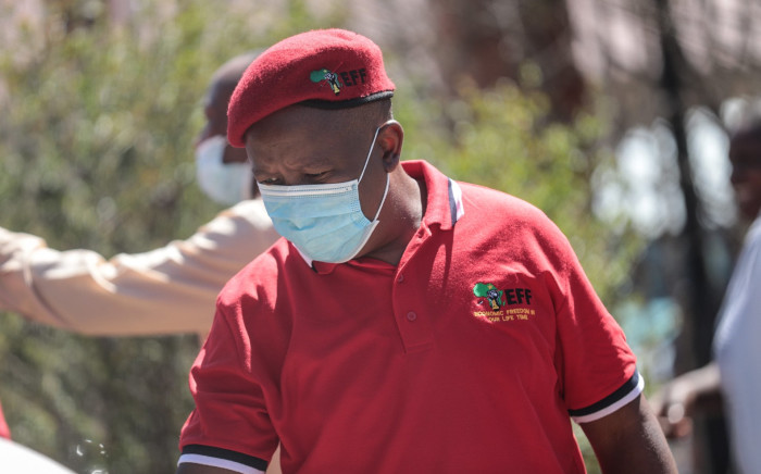 EFF leader Julius Malema leads a protest in the town of Senekal in the Free State on 16 October 2020. Picture: Abigail Javier/EWN