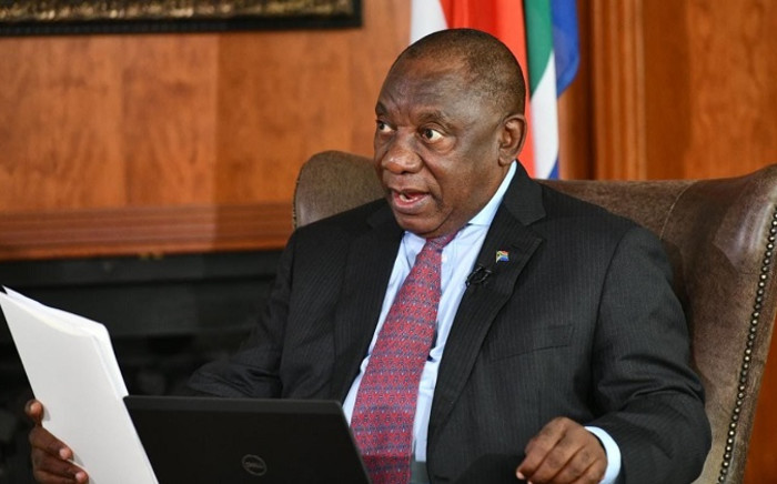 President Cyril Ramaphosa on 10 April 2020 joined an online Good Friday Liturgy live from his home in Johannesburg led by the Anglican Archbishop of Cape Town Thabo Makgoba. Picture: @PresidencyZA/Twitter