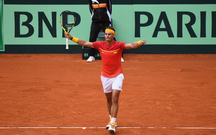 Spain's Rafael Nadal celebrates winning his quarterfinal match against Germany's Philipp Kohlschreiber. Picture: @DavisCup/Twitter.