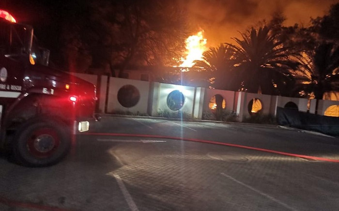 The Mmabatho Palms Hotel in Mahikeng was on fire on 8 September 2021. Picture: Supplied.