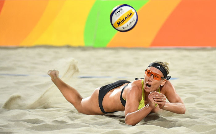 This file photo taken on 9 August 2016 shows Germany's Karla Borger diving for the ball during the women's beach volleyball qualifying match between Germany and the Netherlands at the Beach Volley Arena in Rio de Janeiro, for the Rio 2016 Olympic Games. Picture: AFP