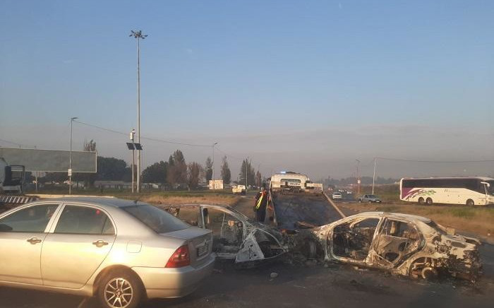 Overnight protests in Klipspruit Valley, Soweto, led to two vehicles being set alight and another damaged. Picture: JMPD/Supplied.