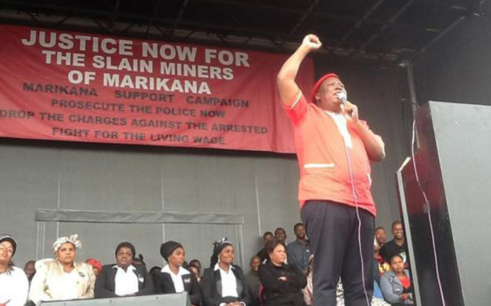 FILE: There was a warm welcome by the mining community as Malema arrived. Picture: Supplied.
