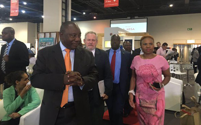 Deputy President Cyril Ramaphosa alongside Ministers Rob Davies (Department of Trade and Industry) and Lindiwe Zulu (Department of Small Business Development) arrive at the Proudly SA 2016 Buy Local Summit and Expo, 30 March 2016. Picture:Masego Rahlaga