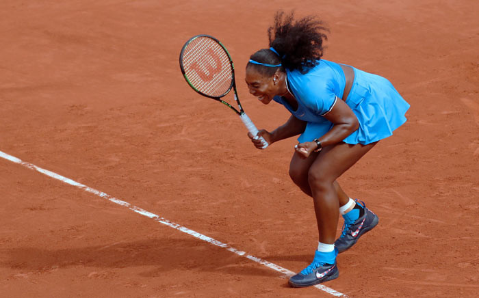 FILE: Serena Williams celebrates after beating France's Kristina Mladenovic during their women's third round match at the Roland Garros 2016 French Tennis Open in Paris on 28 May 2016. Picture: AFP.