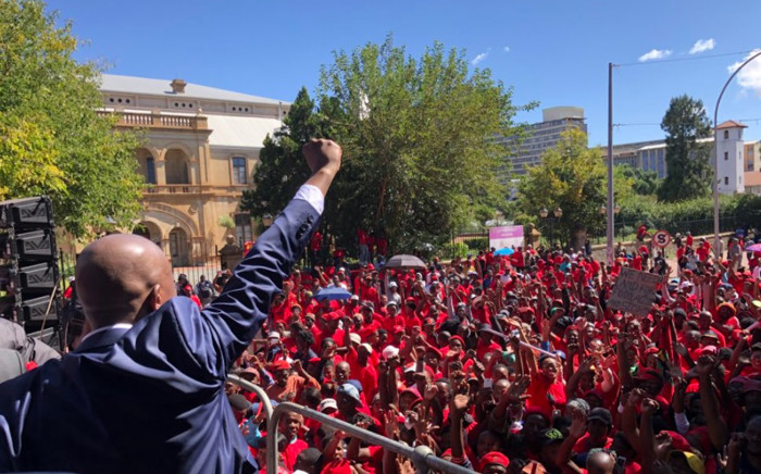 FILE: Economic Freedom Fighters leader Julius Malema addressing supporters in George on 6 April 2018. Picture: @EFFSouthAfrica/Twitter.