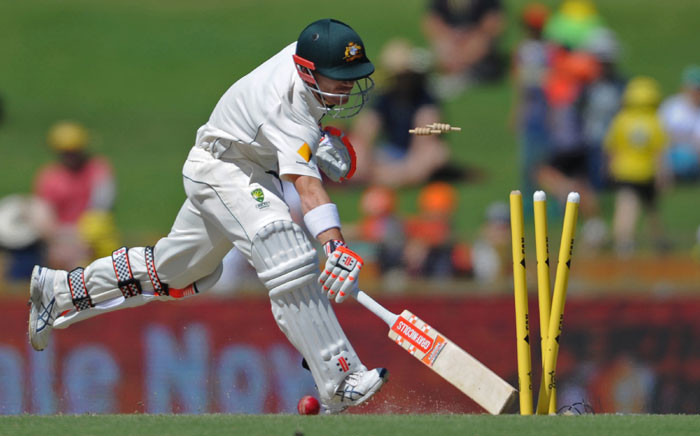 FILE: Australia's David Warner is run out on day four of the first Test cricket match between Australia and South Africa in Perth on 6 November 2016. Picture: AFP.