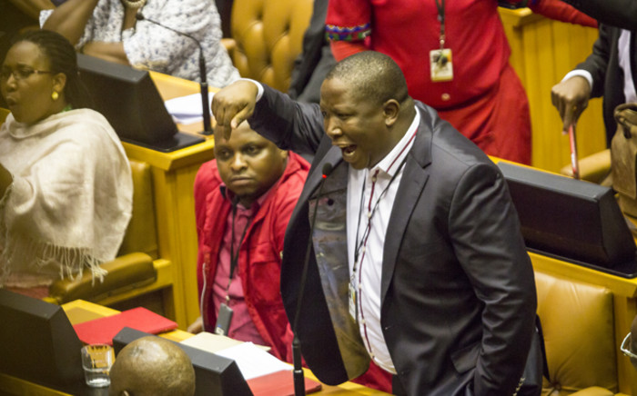 Julius Malema shouts at Blade Nzimande in Parliament on 18 February 2015 during day 2 of the Sona debate. Picture: Thomas Holder/EWN.