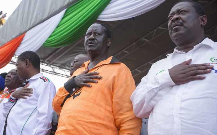 Kenyan opposition leader Raila Odinga, centre. Picture: @RailaOdinga/Twitter